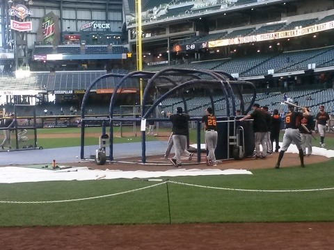 Batting practice with the Giants